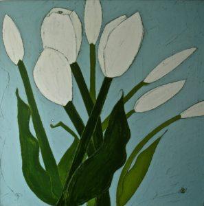 tusinski_white-tulips-on-sunday_48_x48__oil-graphite_6800