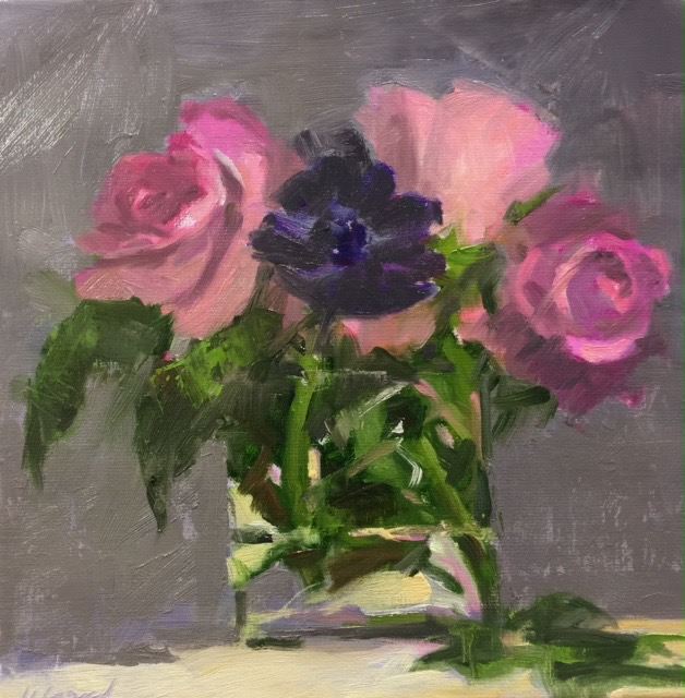 Purple Anemone and Roses