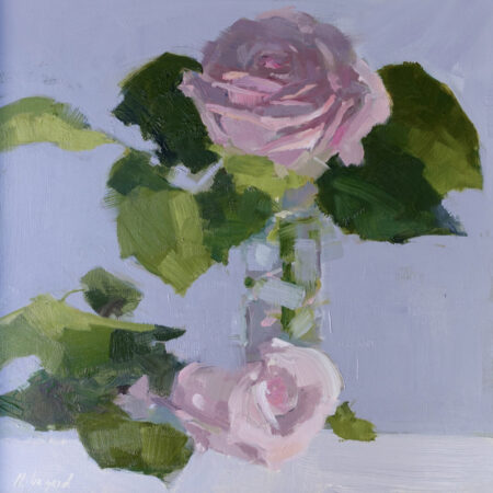 Pink Rose Duo By Momique Lazard Oil on panel