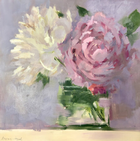 Pink and White Peonies by Monique Lazard oil on canvas
