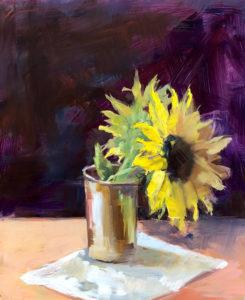 Sunflower by Monique Lazard oil on vellum
