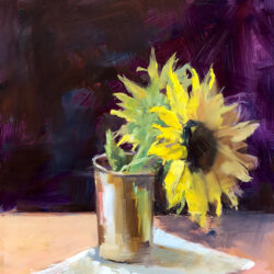 Sunflower by Monique Lazard oil on vellum
