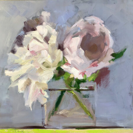 White and Pale Pink Peonies by Monique Lazard