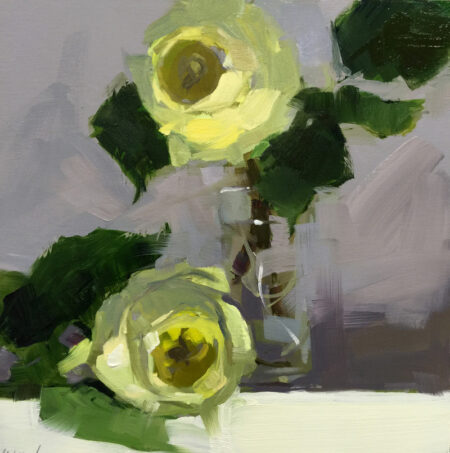 Yellow Rose Duo Oil on Panel by Monique Lazard