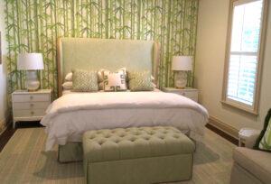 guest bedroom with bench - Sandra Morgan Interiors