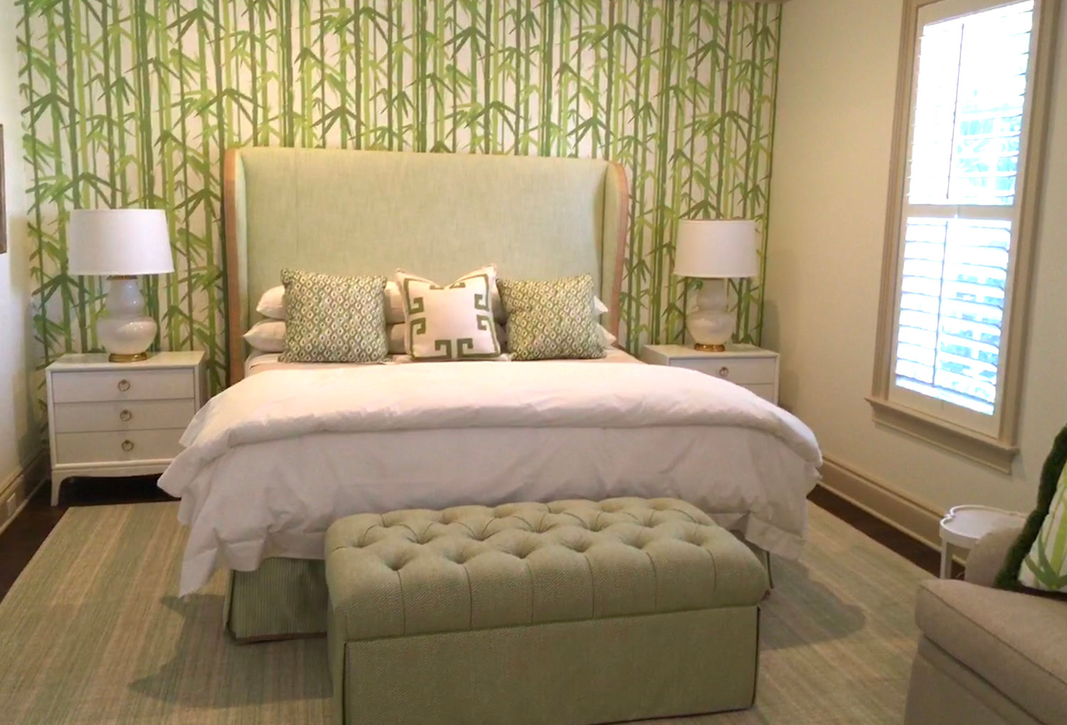 guest bedroom with bench - Sandra Morgan Interiors