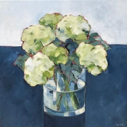 Beth Munro Hydrangea Study I 18 x 18 Acrylic on Canvas