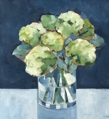 Beth Munro Hydrangea Study II Acrylic on Canvas 18 x 18