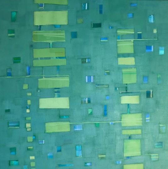 Beth Munro Puzzled Emerald Acrylic on Canvas