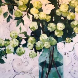 Hydrangea Study in Greens oil on canvas