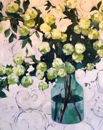 Hydrangea Study in Greens oil on canvas