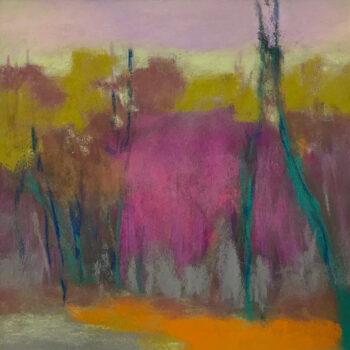 Grande Pink Sky II Soft Pastel on Paper Framed Under Glass 18 x 18