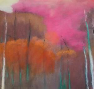 Grande Tree Aura Soft Pastel on Paper Framed under Glass 26 x 25