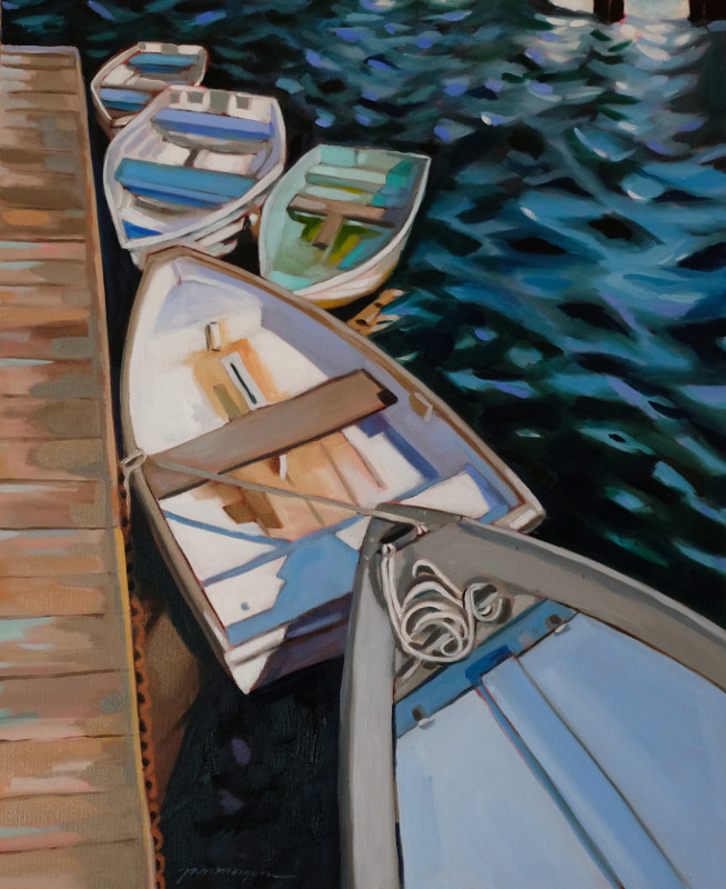 Paula Morgan_5_On The Dock Annisquam 24 x 36 Oil on Gallery Wraooed Canvas