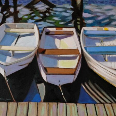 Morgan_Paula_7_Under The Annisquam Footbridge 18 x 24 oil on canvas in Black Floater Frame